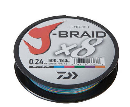 Trecciato Daiwa J BRAID X8 500 mt - D. 0,35 / LB 79.0 PE6.0 Multicolor