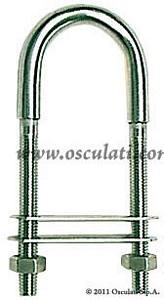 Cavallotto ad U Inox D 10 Filetto D 8 Piastrina 80x44 mm
