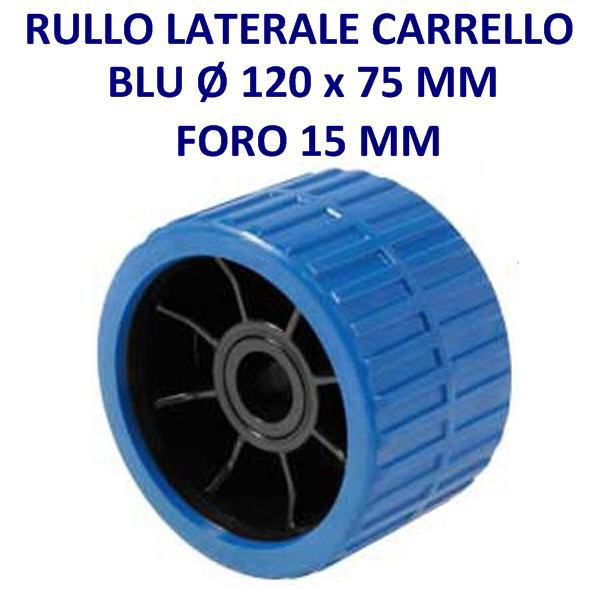 Rullo laterale da 120x75 mm, foro mm 15,0 Blù