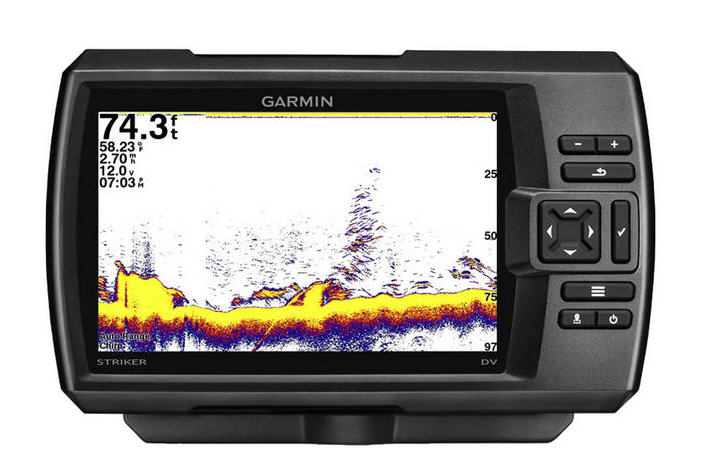 "ECO-GPS integrato GARMIN STRIKER 7DV Fishfinder 7"" con TRASDUTTORE CHIRP e DownVü"