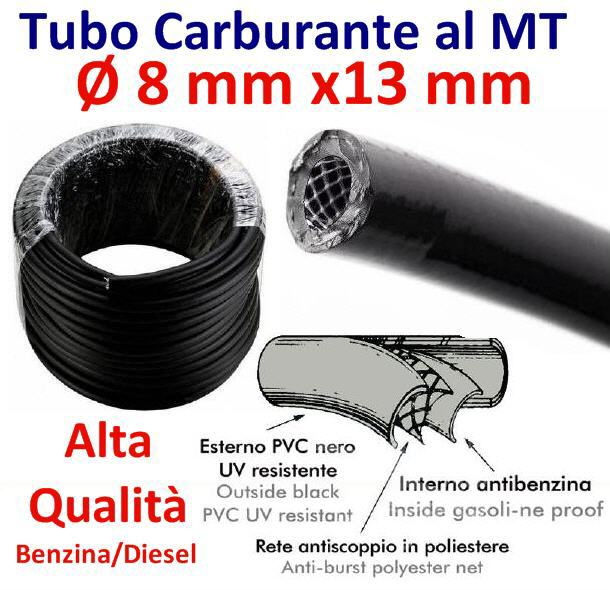 Tubo Carburante in PVC telato Ø 8 mm x13 mm (al metro)