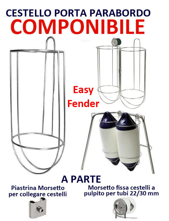 Porta Parabordo Componibile Easy Fender Cestello inox Ø 215 mm