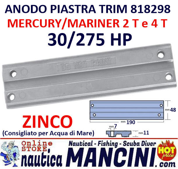Anodo Zinco a Piastra TRIM per Barra Mercury/Mariner 30/275 HP