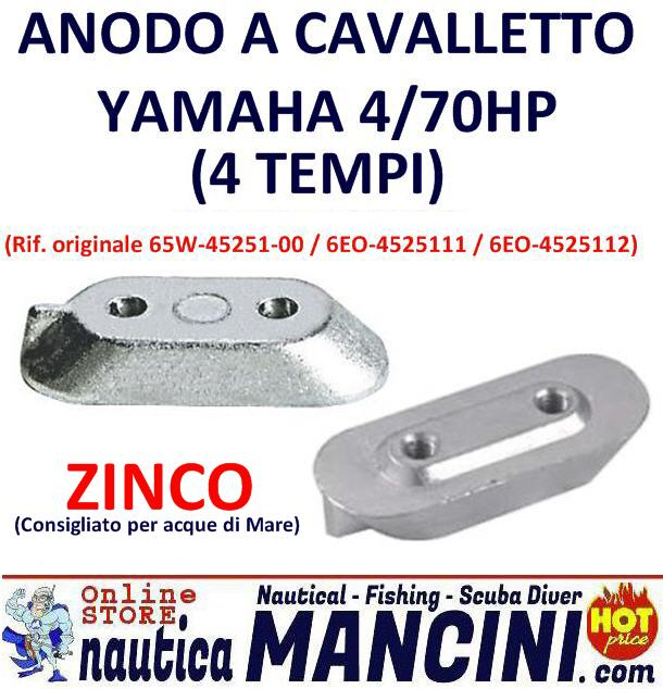Anodo Zinco a Cavalletto Yamaha 4/70 HP