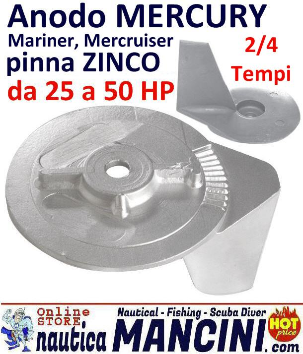 Anodo Pinna Mercury, Mariner, Mercruiser 25/50 HP